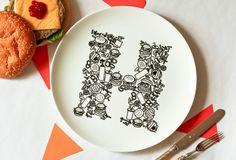 H for Hamburger  Alphabet Ceramic Plate Black by justnoey on Etsy, £30.00