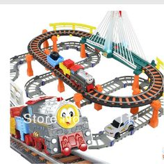 Free shipping christmas gift for children Single-layer Thomas Train track electric train toy 1 train 2 coaches 1 Car $39.59
