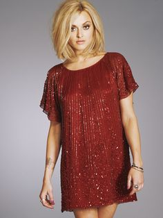 Fearne Cotton's red sparkly dress in very.co.uk TV ad