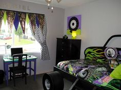 Monster Truck Race Pennant Valance And Checkered Flag Curtains From Gabriel S Special Spaces Tri Cities Kids Rooms Diy Boys Bedroom Makeover Bedroom Makeover