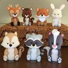 Cute Woodland Animals to display on food table then the mom-to-be can put in nursery.Image may contain: 1 person Polymer Clay Animals, Polymer Clay Crafts, Polymer Clay Creations, Woodland Cake, Woodland Party, Fondant Cake Toppers, Fondant Cupcakes, Cupcake Toppers, Fondant Animals