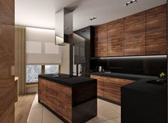 The Nuiances of Rosewood Cabinet Doors - decorhomesideas Kitchen Design Small, Modern Kitchen Interiors, Kitchen Inspiration Design, Home Decor Kitchen, Kitchen Room Design, Kitchen Interior, Loft Kitchen, Kitchen Furniture Design, Modern Kitchen Design