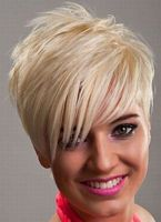 blonde short hairstyle with asymmetrical bangs