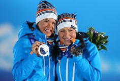 Winter Olympics 2014, Sochi, cross country sprint  SILVER,  Kerttu Niskanen and Aino-Kaisa Saarinen