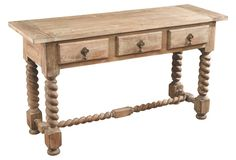 """Parlor console - Cole 54"""" Console, Weathered Natural"""