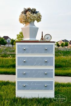 Diy Painted Custom Furniture Dresser Drawers With Vintage Shabby Chic French Lettering Stencils By Royal