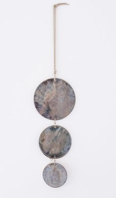 Three large graduated porcelain discs, glazed with a light reflecting pewter colored glaze. Assembled with nylon twine and hangs from hemp rope. Light Blue Green, Color Glaze, Pewter Color, Home Goods, Porcelain, Mirror, Wall, Shop, Porcelain Ceramics