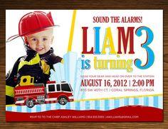 Firefighter Birthday Invitation Photo Card by DesigningFinch, $15.00