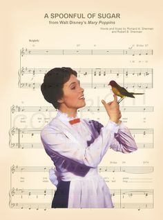 Here is a music sheet art print of Mary Poppins from Disneys Mary Poppins on the sheet music for the song Spoon Full of Sugar. This is perfect for any Mary Poppins/Disney fanatic!  We print this on quality ivory card stock paper, which measures approximately 8.5x11, and ship it in a heavy-duty envelope to ensure it arrives intact. FRAME NOT INCLUDED.  11x17 Poster: $20.00 18x24 Poster: $30.00 24x36 Poster: $45.00  Take advantage of our Buy 2 Prints, Get 1 Free special! Simply purchase an...