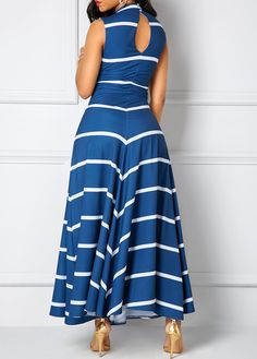 Navy V Neck Cutout Back Printed Maxi Dress on sale only US$36.79 now, buy cheap Navy V Neck Cutout Back Printed Maxi Dress at liligal.com
