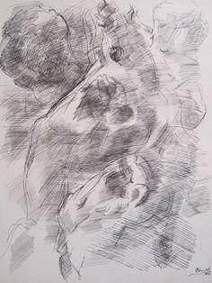 """Juan Martín """"Figuras"""" Tinta china sobre papel  40 x 31 cm. Año 1966  Firmado y fechado abajo a la derecha  http://www.portondesanpedro.com/ver-producto.php?id=12585"""