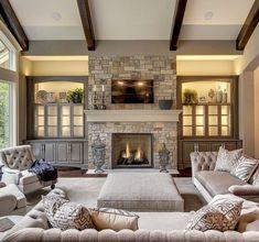 85 farmhouse style fireplace ideas - Ideas For Living Room Design