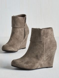 cute grey wedge booties