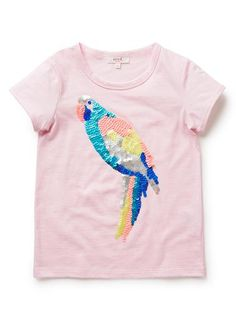 Girls Tops Tees & Shirts | Sequin Parrot Tee | Seed Heritage