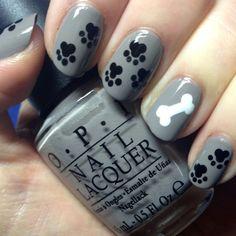 Gelish Gel Polish paw print & dog bone nail art