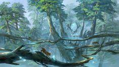 Wallpaper forest, the portal, fantasy, art, zhong wenhao . Fantasy Art Landscapes, Fantasy Landscape, Fantasy Artwork, Landscape Art, Landscape Concept, Fantasy Places, Fantasy World, Fantasy Forest, Fantasy Kunst