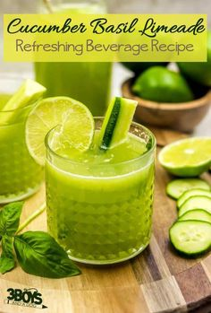 non alcoholic green drinks - cucumber basil mocktail recipe Non Alcoholic Drinks Green, Limeade Drinks, Sparkling Drinks, Cocktails, Mocktails For Kids, Green Drink Recipes, Types Of Tea, Irish Whiskey, Scotch Whisky