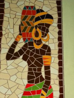 Quadro Africana. Mosaico feito com azulejos em base de MDF. Ceramic Tile Crafts, Mosaic Crafts, Mosaic Projects, Mosaic Artwork, Mosaic Wall Art, Afrique Art, African Art Paintings, African Crafts, Mosaic Pots