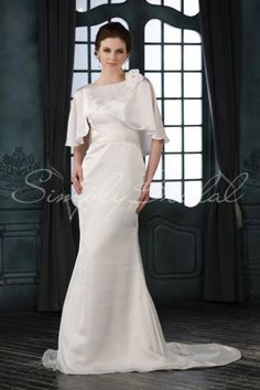 Wedding Dress by SimplyBridal. This floor length mermaid gown has classic and vintage elements. The half sleeves form a cape-let across shoulders, and a flower creates a pretty accent. The neckline dips in the back in a lovely V-shape.  The princess neckline and jewel neckline is caref. USD $459.9908