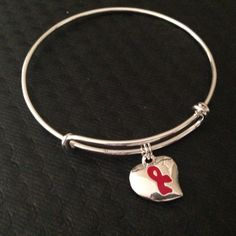 Heart and Stroke Awareness Charm on a silver by JulesObsession