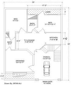 6 Marla house plan,30' × 42' Modern House Plan
