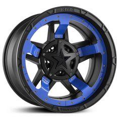 XD Series XD827 Rockstar 3 Matte Black Blue Midspoke Inserts & Black Cap
