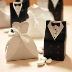 Send out your favors with unique wedding favor boxes,wedding favor boxes with ribbon and white favor box and you can have the best one-hot candy box bride groom wedding bridal favor gift boxes gown tuxedo 100 pcs = 50 pair new from beautie__factory. Candy Wedding Favors, Wedding Favor Boxes, Unique Wedding Favors, Wedding Gifts, Trendy Wedding, Groom Box, Diy Cadeau Noel, Dollar Tree Wedding, Wedding Groom