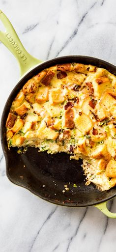 Cast-Iron Skillet Strata with Bacon and Scallions. We set out to simplify this layered, savory bread pudding-like breakfast dish by using our cast-iron skillet.