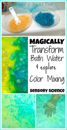 Sensory play & Science for Kids- Let kids magically transform their bath water right before their eyes with magic homemade crystals!  Such a fun way to explore color theory, science, and the senses!
