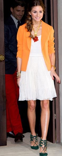 Pretty white dress with a pop of color