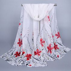 NBNB $3.06 Chic Leaves and Flowers Pattern Chiffon Scarf For Women