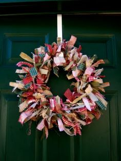 RAG WREATH Supplies Needed: 12 inch wire wreath 8-10 Assorted fabrics/ribbons (I probably used about 1/4 yard of each fabric and a couple yards of ribbon to complete this wreath) Step1: Cut out your fabric strips into about 1 inch thick by 6-8 inches long. The easiest way to do this is snip the fabric and then rip it. I used burlap as well, but you can just rip burlap so I had to cut it and I also had to cut the ribbon.