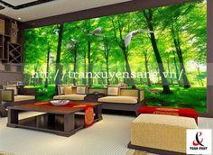 vách xuyên sáng phòng khách in hình rừng cây