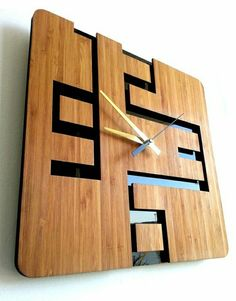 Bamboo Wall Clock Retro Industrial by MabelDesignsAU Into The Woods, Cnc Projects, Woodworking Projects, Wall Clock Design, Clock Wall, Bamboo Wall, Cool Clocks, Diy Clock, Wooden Clock
