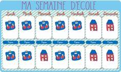 Calendrier de la semaine d'école à imprimer  http://allomamandodo.com/le-calendrier-de-la-semaine-decole-imprimer-cadeau/