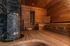 Beautiful sauna / Kaunis sauna Finnish Sauna, Outside Patio, Saunas, Home Deco, Home And Living, Perfect Place, Home Remodeling, Interior And Exterior, House Plans