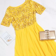 The Colour Yellow Makes Us Smile 😊 😊 😊 ⠀⠀⠀⠀⠀⠀⠀⠀⠀⠀ 'Michaela Yellow Embellished Skater Dress'⠀⠀⠀⠀⠀⠀⠀⠀⠀ Available in Sizes UK XS/8 to XXXXL/22⠀⠀⠀⠀⠀⠀⠀⠀⠀ €119.99⠀⠀⠀⠀⠀⠀⠀⠀⠀ ⠀⠀⠀⠀⠀⠀⠀⠀⠀ ✨Online at www.virgo-boutique.com✨⠀⠀⠀⠀⠀⠀⠀⠀⠀ #VBFamily Dresses To Wear To A Wedding, Colour Yellow, Knee Length Dresses, Chiffon Fabric, Chic Outfits, Skater Dress, Virgo, Luxury Fashion, Feminine