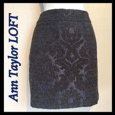 "Gorgeous Brocade Skirt from LOFT Make a statement in this gorgeous skirt! It is blue with black textured brocade design. Contoured waistband for smooth fit. Hidden zipper in back. Length is 16"" and waist is 14.5"" across. See photo for fabric content. Excellent Condition! 206201640 LOFT Skirts"