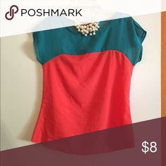 Color block sheer shirt Coral and turquoise short sleeve Tops