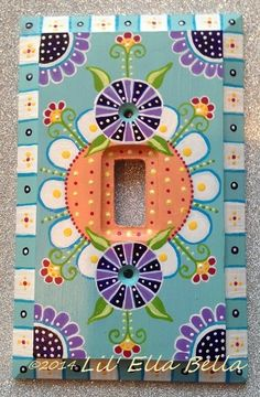 Hand Painted Switch Plate Single Toggle Light by lilEllaBella, $35.00