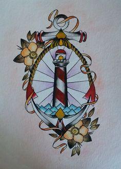 Old School Light house Tattoo design