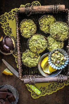 Lemon, Chocolate And Pistachio Muffins