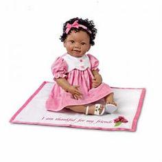 #301377005 African-American Eden Lifelike Baby Doll With Musical Blanket by sensationaltreasures