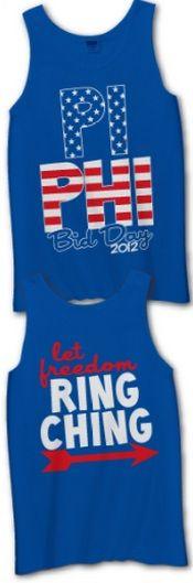 Let Freedom Ring Ching! Pi Phi USA Bid Day #piphi #pibetaphi