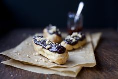 Chocolate Hazelnut Eclairs #dessert #tasty #food #recipe #chocolate http://explodingtastebuds.com/