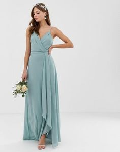 cc42506d2 TFNC bridesmaid exclusive cami wrap maxi dress with fishtail in sage