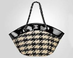 CHANEL Satin and leather caning basket