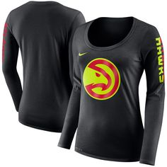 check out 38262 2d50f Atlanta Hawks Nike Women s Primary Logo Long-Sleeve T-Shirt – Black