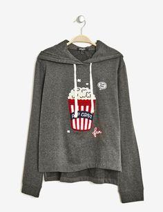 sweat patch pop corn gris anthracite chin www Sweat Shirt, Jumper Shirt, Hoodie Sweatshirts, Fall Shirts, Tee Shirts, Sweat Style, Pull Sweat, Make Your Own Shirt, Flirt