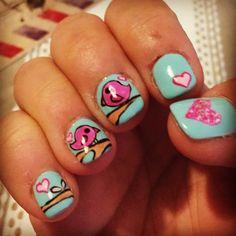 My nails, tortolitos enamorados